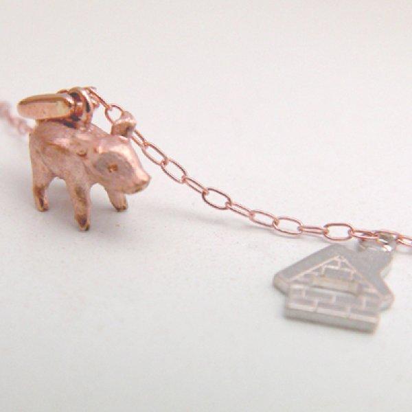 画像1: 3匹の子豚 ペンダント (ピンクゴールド) ☆チャームシルバー (1)