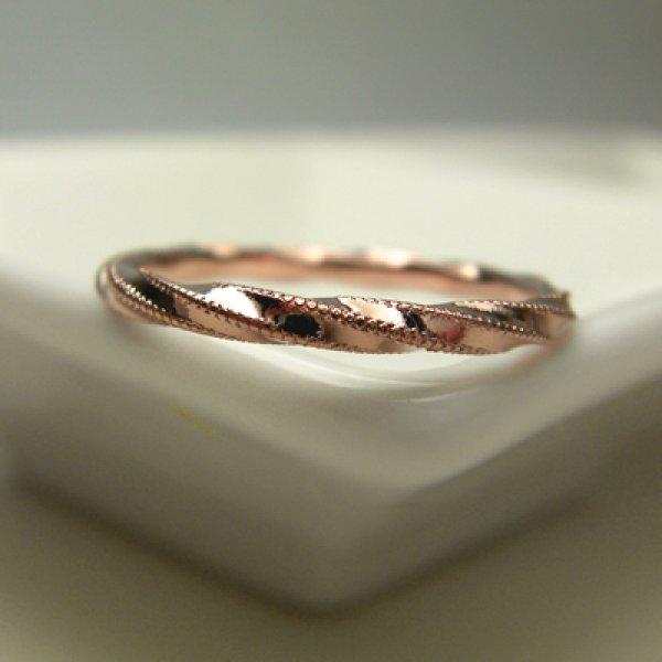 画像1: acoaco あこあこ (結婚指輪 K18ピンクゴールド ミル打ち1.9mm) (1)