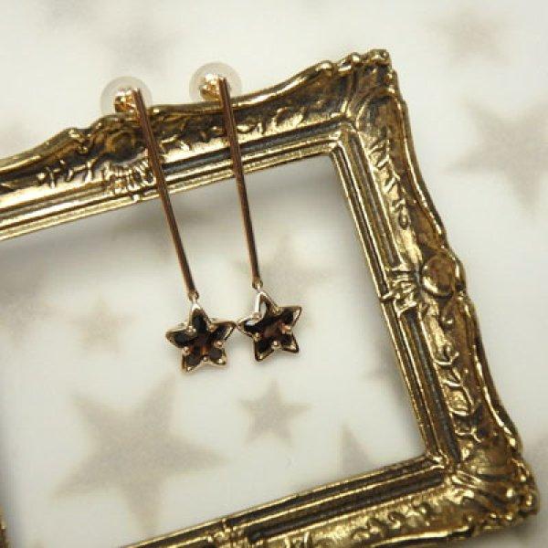 画像1: スモーキークオーツのお星さまピアス (K10イエローゴールド) (1)