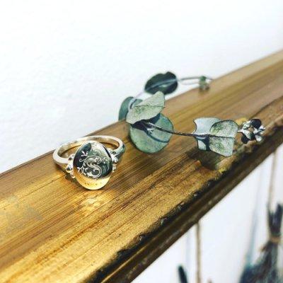 画像1: シグネット リング (シルバー ミモザの花束)